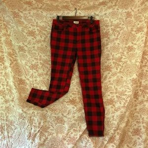 Plaid skinny jeans red 12 Forever 21